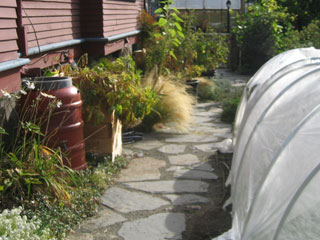 A Rainbarrel Collects Rainwater & Diverts it from a Foundation