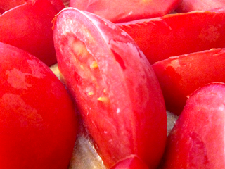 Just frozen, garden-fresh tomatoes ready to vacuum seal