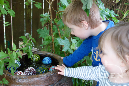 Children, Water Feature & Glass Art for the Honeybees