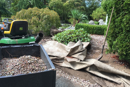 Landscape gravel & fabric clean up project