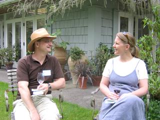 Friends Enjoying Wine at the Dunn Gardens Tasting Fundraiser Tour in 2008