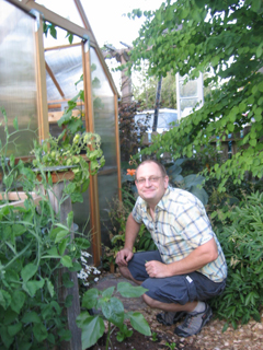 Bob Outside the Greenhouse Back Door