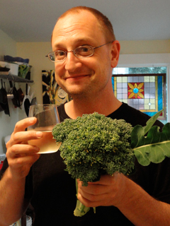 Bob Toasting Our First Hefty Broccoli of the year - One of His Favorites!