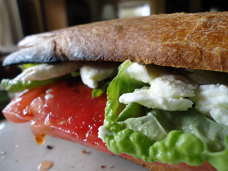 Lettuce Leaf Basil Caprese Sandwich on Homemade Baguette