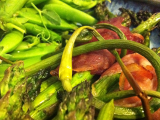 Roasted Asparagus, Prosciutto & Garlic Scapes with Sugar Snap Peas on the Side