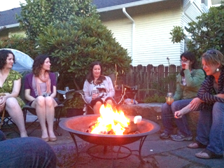 Great Garden Guru Friends Gathered on Granite Boulders Around the Fire -That's what all the noise was the other night!