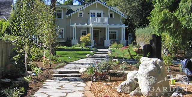 HGTV garden show: View from sidewalk toward house after