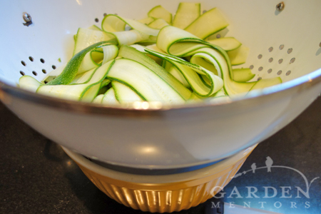 Salted & draining zucchini noodles