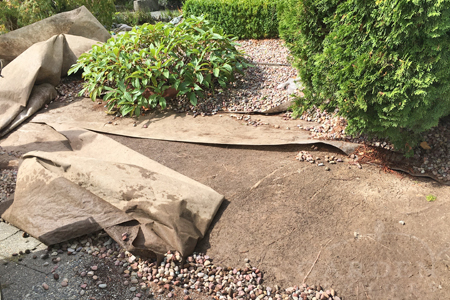 Landscape fabric & garden gravel renovation project