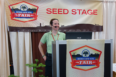 Robin speaking at Mother Earth News Fair